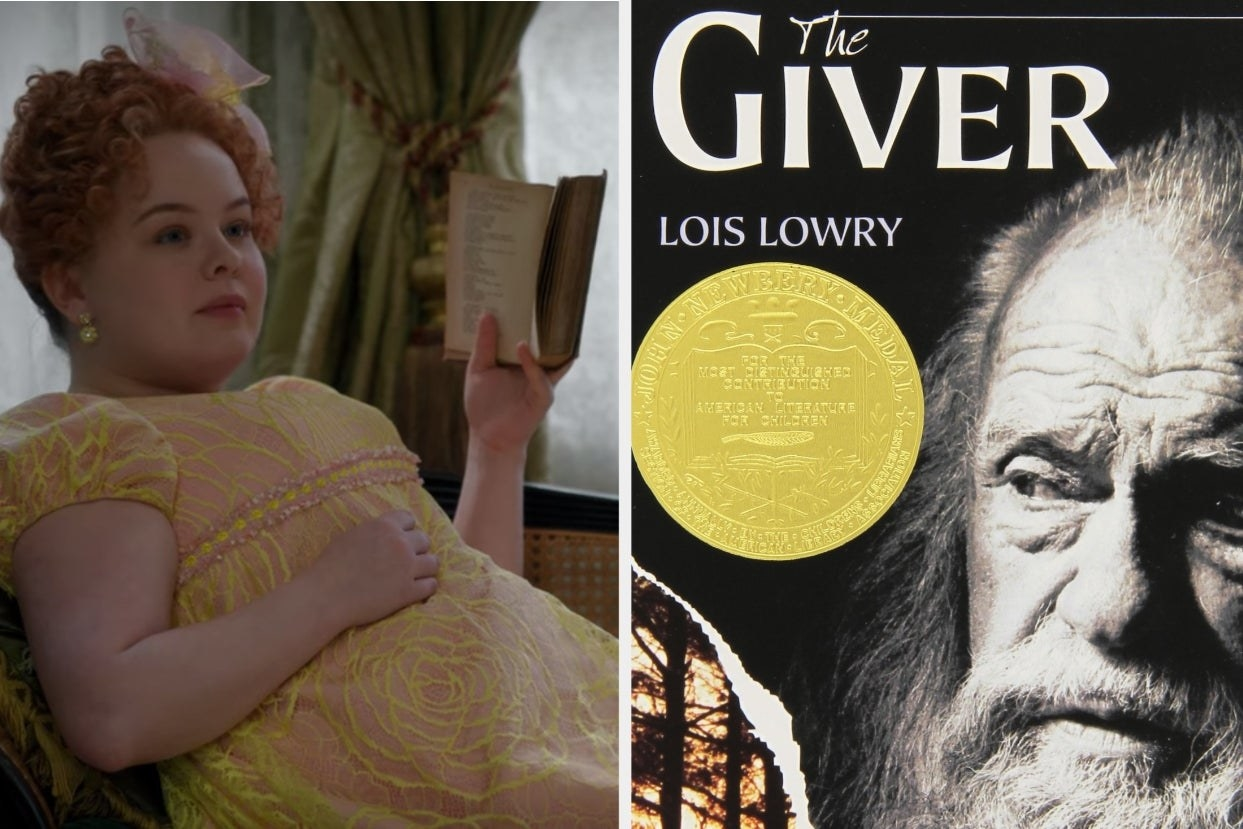 "Penelope on ""Bridgerton"" reading a book and the cover of ""The Giver"""