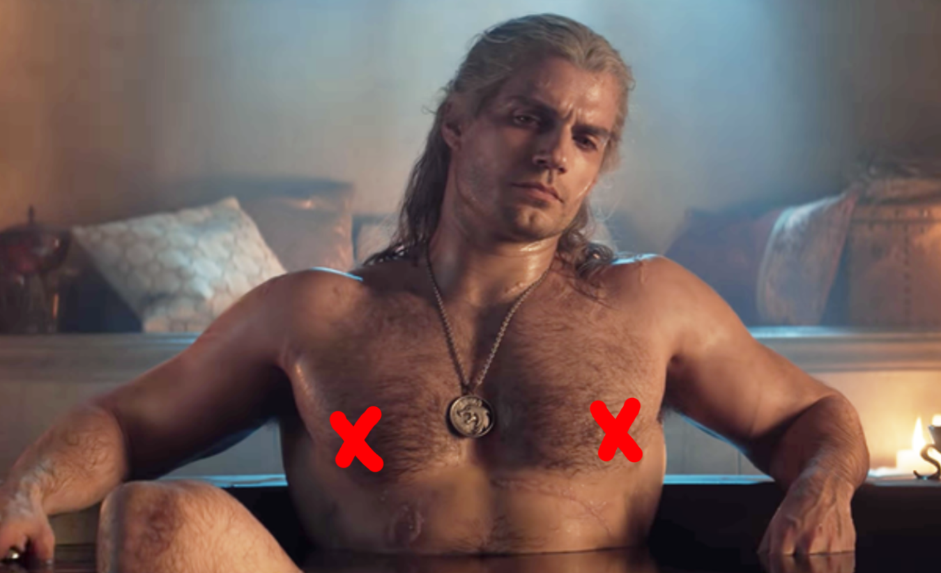 Henry Cavill shirtless in a tub
