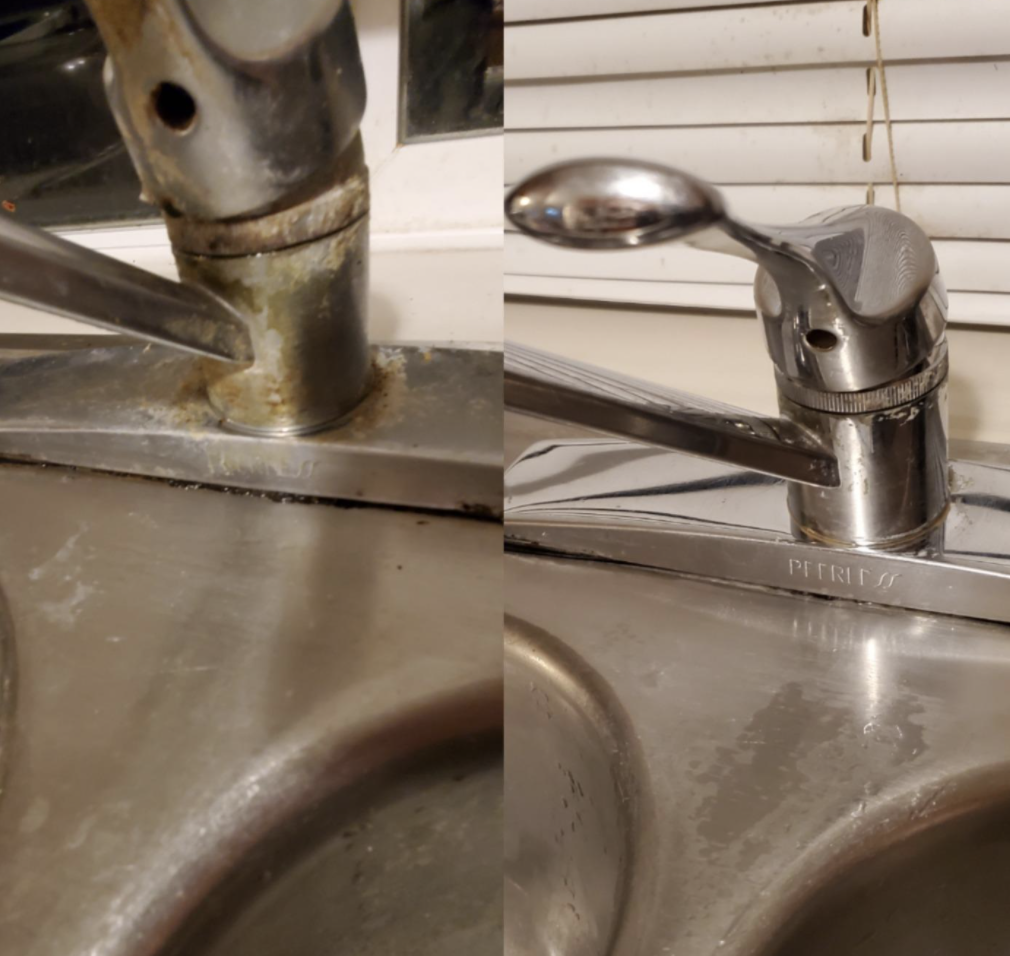 A customer review before and after photo showing the results of using The Pink Stuff on their sink