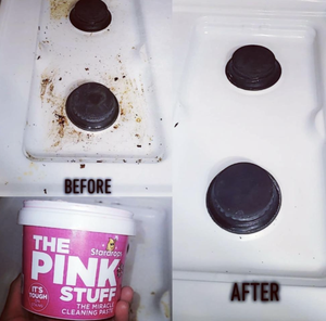 A customer review before and after photo showing the results of using The Pink Stuff on their stovetop