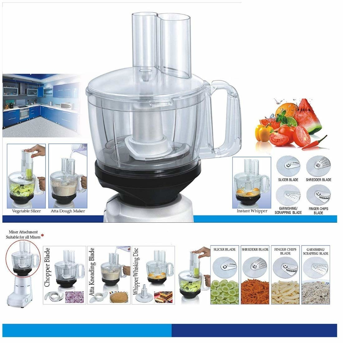 A food processor with different attachments