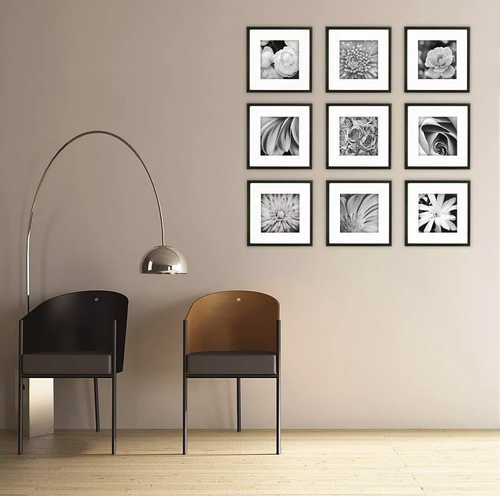Set of black square frames on wall