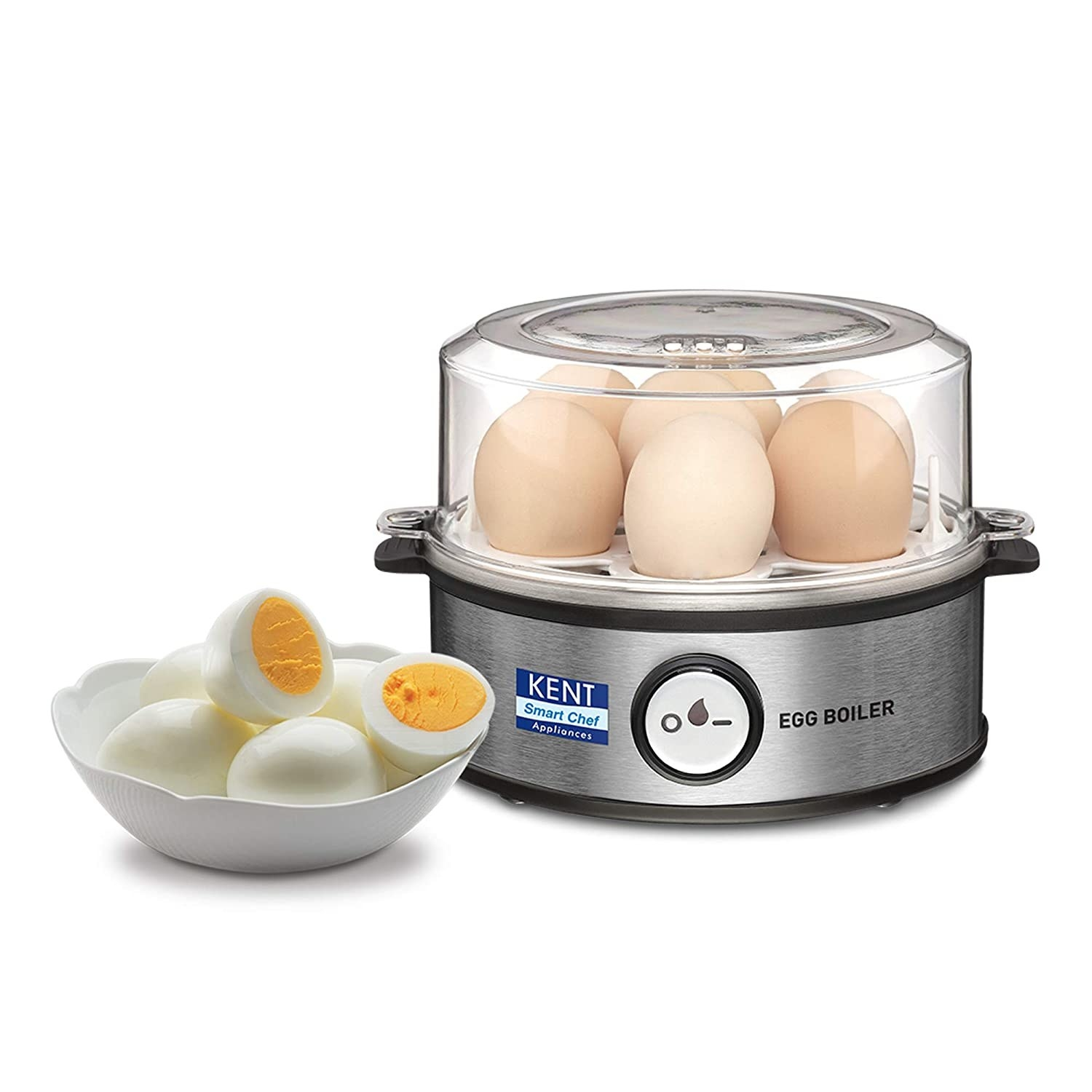 An egg boiler with eggs on the side