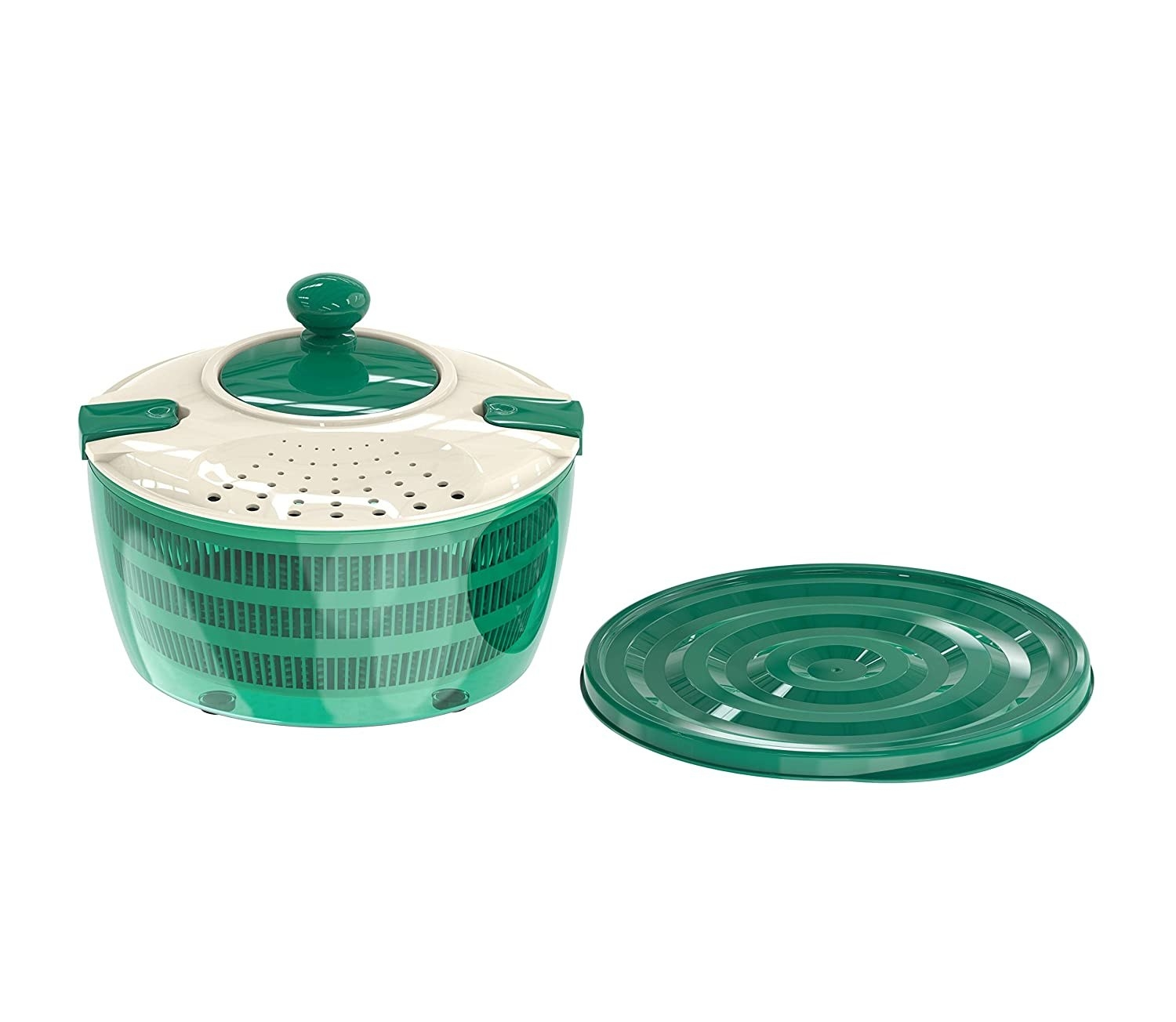 A green and cream salad spinner