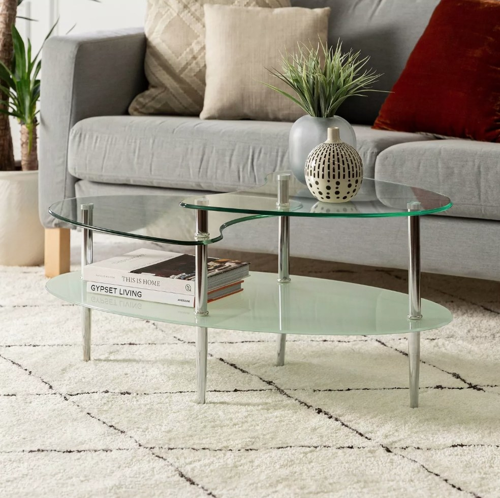 Two tiered glass coffee table