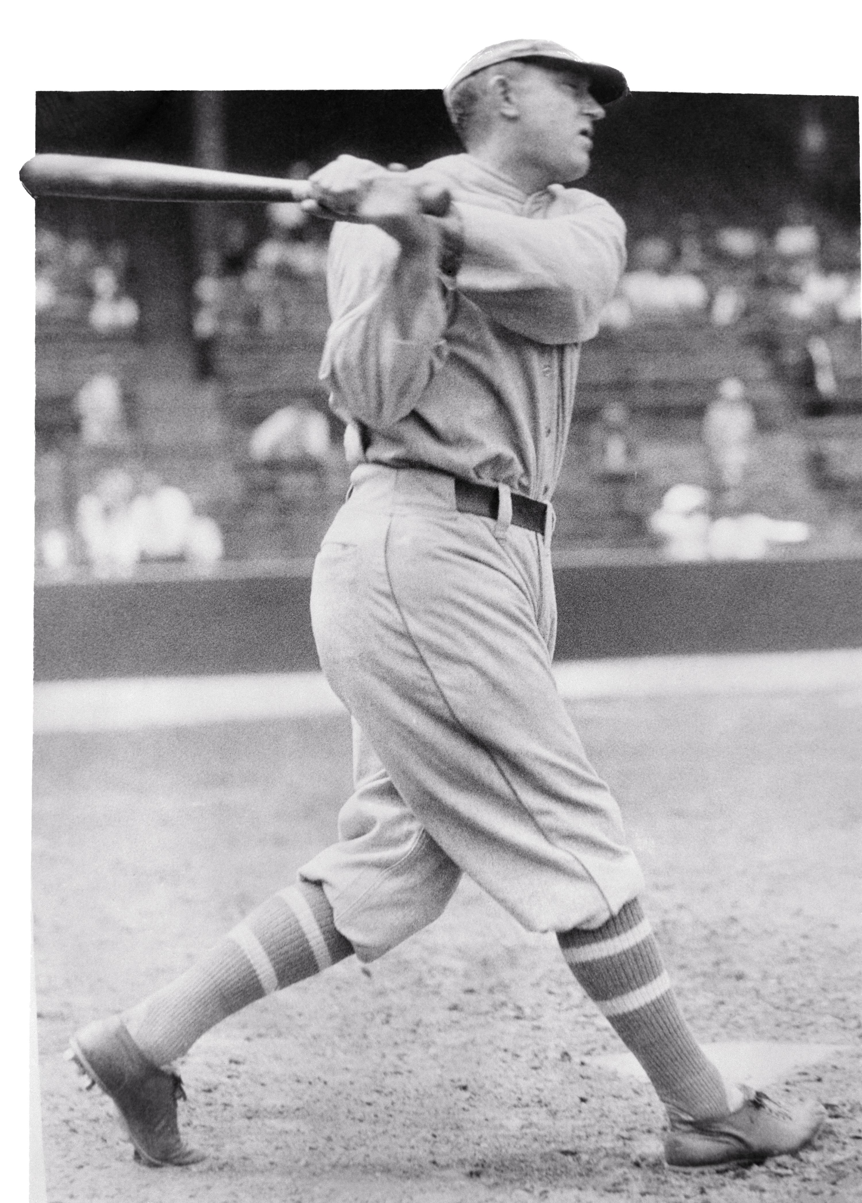 Ty Cobb swinging a bat