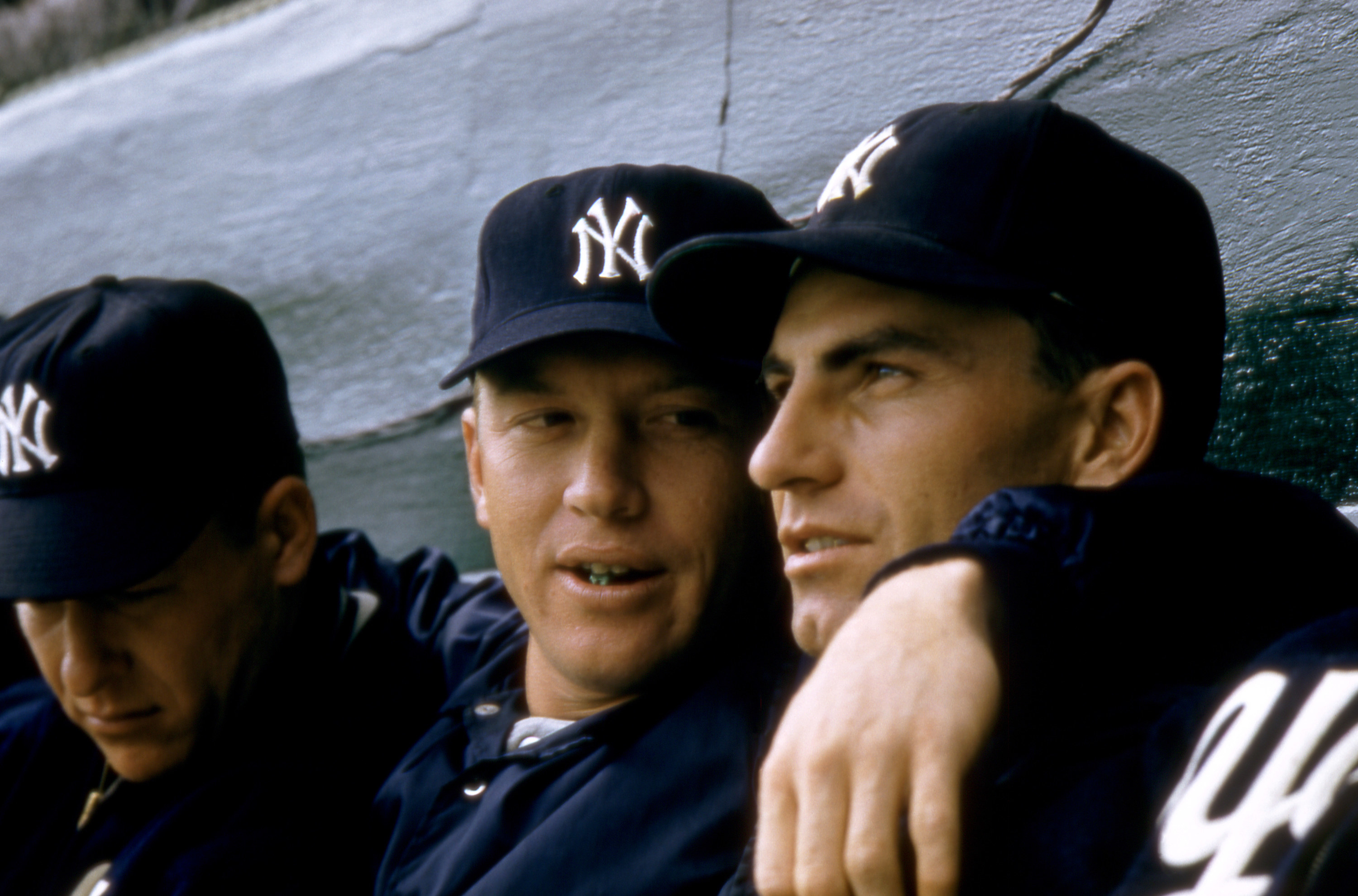 Mickey Mantle hanging out with Yankee teammates