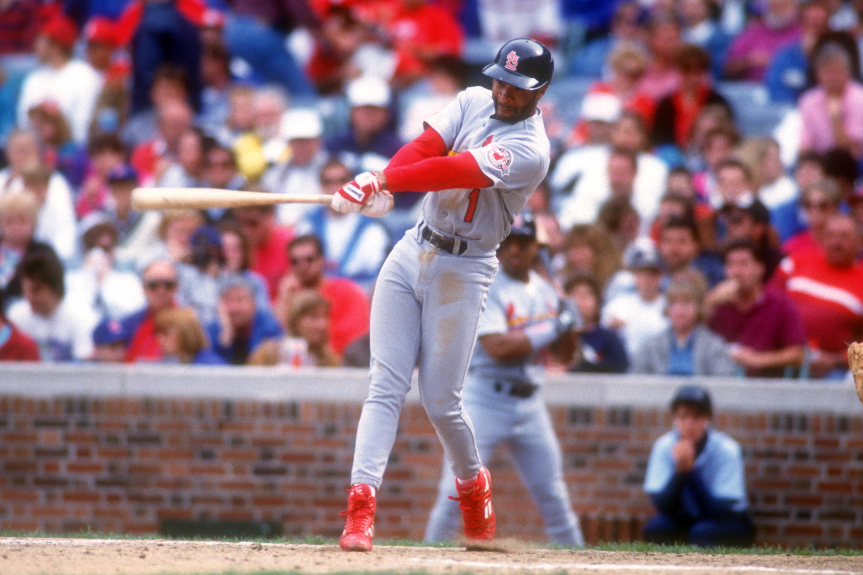 Ozzie Smith swinging a bat