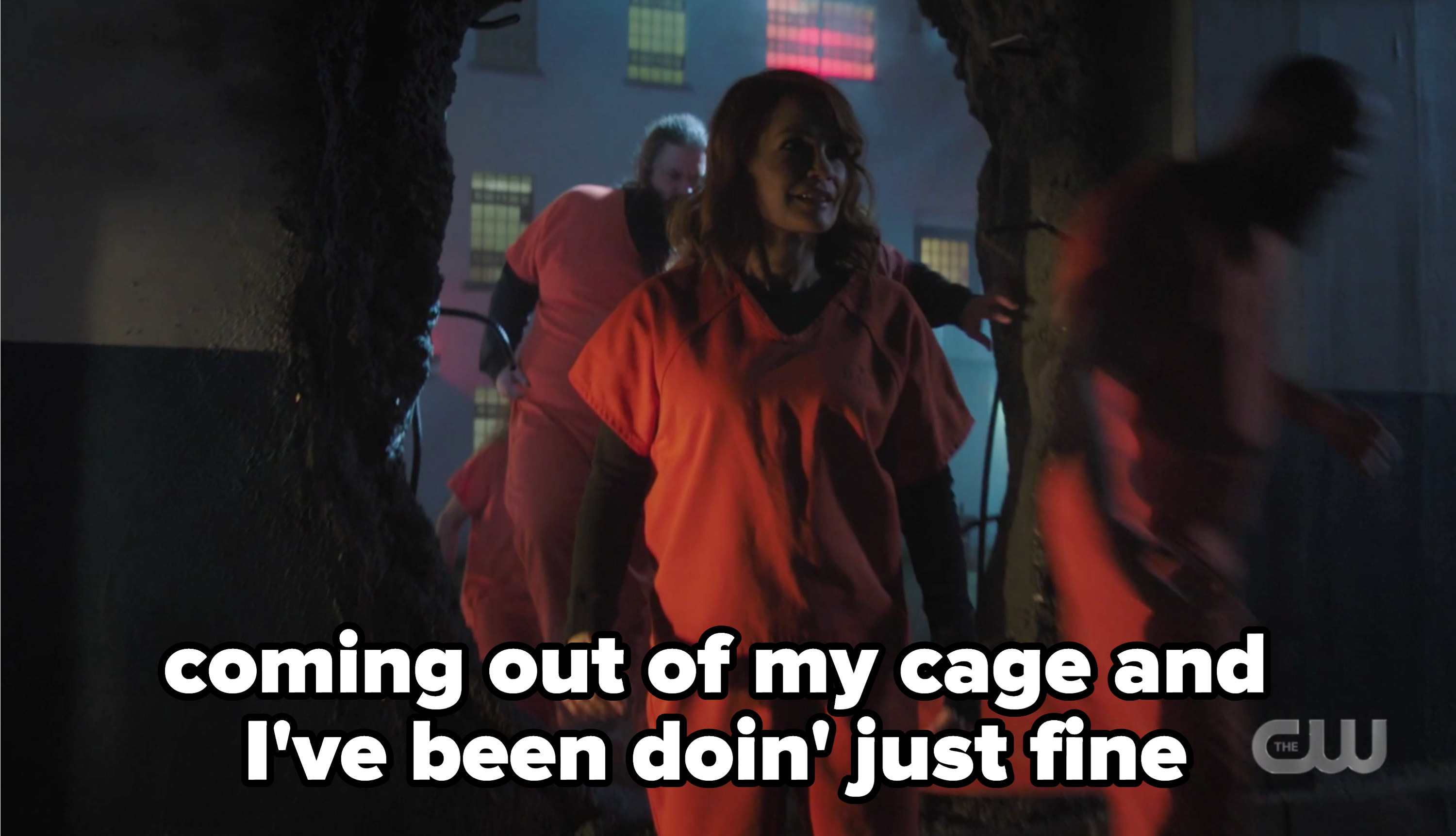 Penelope coming out of prison with the caption coming out of my cage and I've been doin just fine