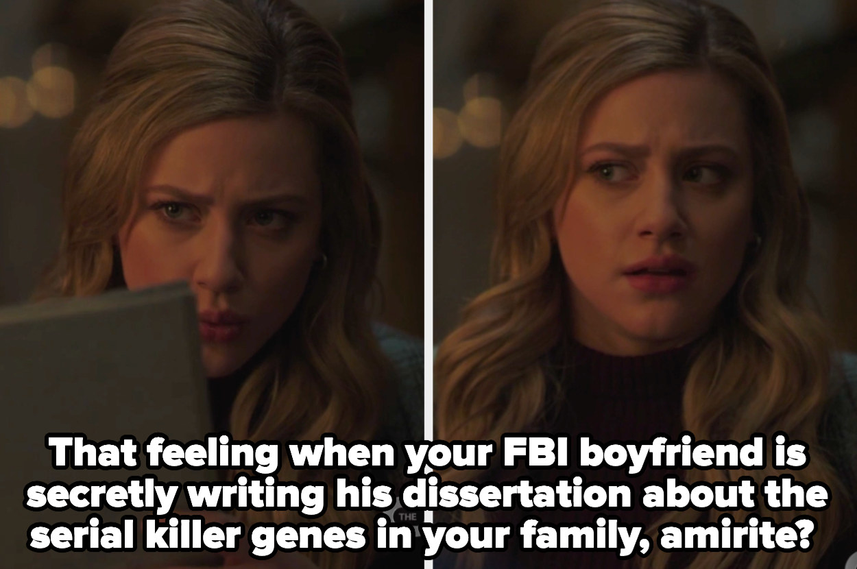 """Betty looking at the dissertation and then at glen with the caption """"That feeling when your FBI boyfriend is secretly writing his dissertation about the serial killer genes in your family, amirite?"""""""
