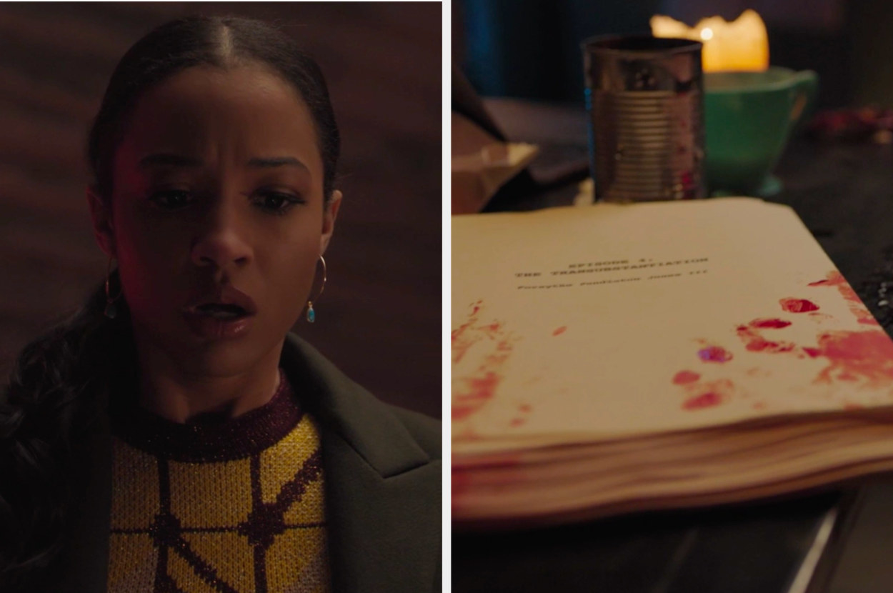 Tabitha side by side with Jughead's bloody manuscript