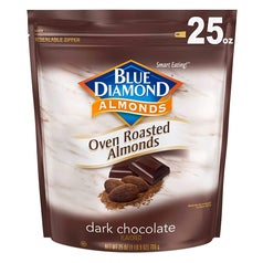 the dark chocolate flavored oven roasted almonds in their packaging