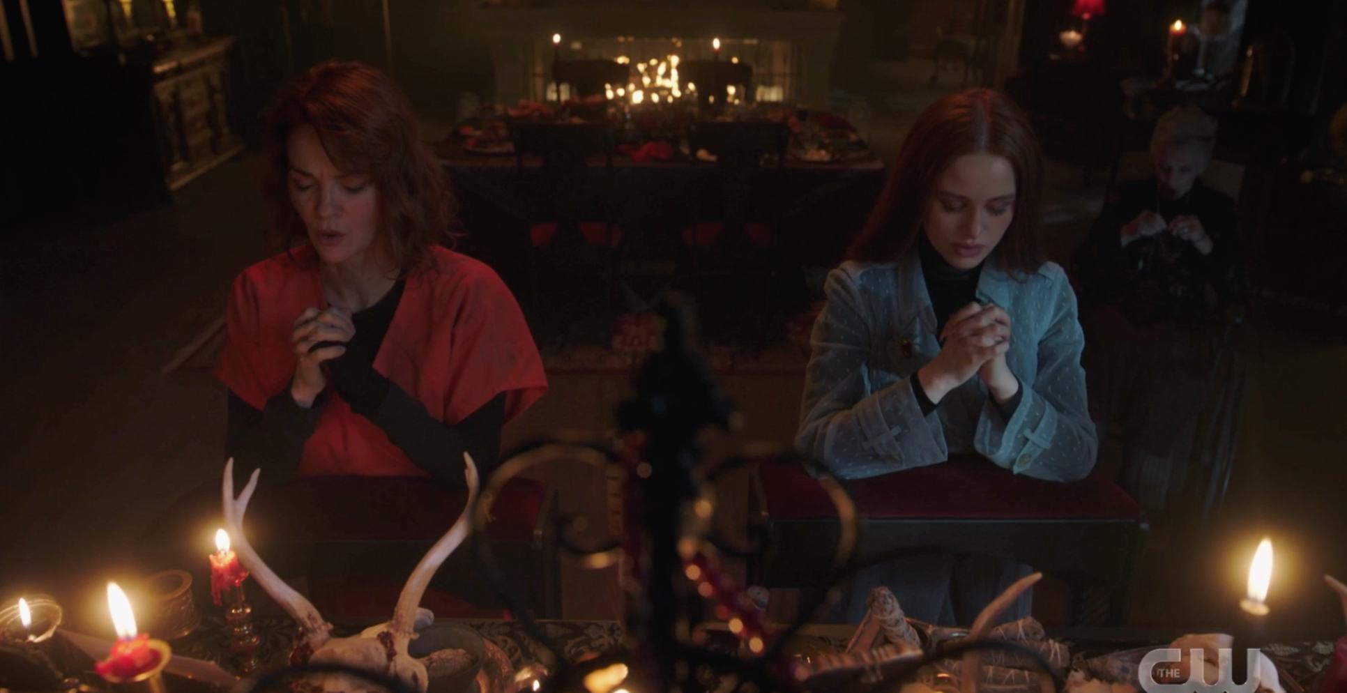 Penelope and Cheryl praying