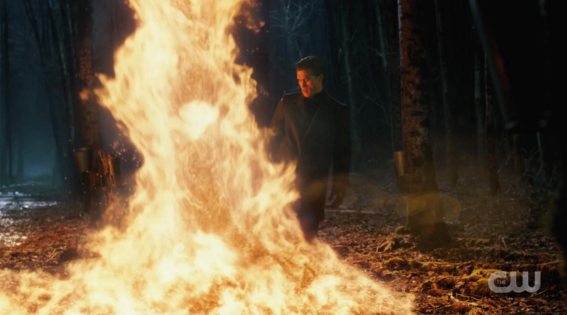 Reggie lighting the maple on fire