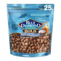 the salt 'n' vinegar flavored almonds in their packaging
