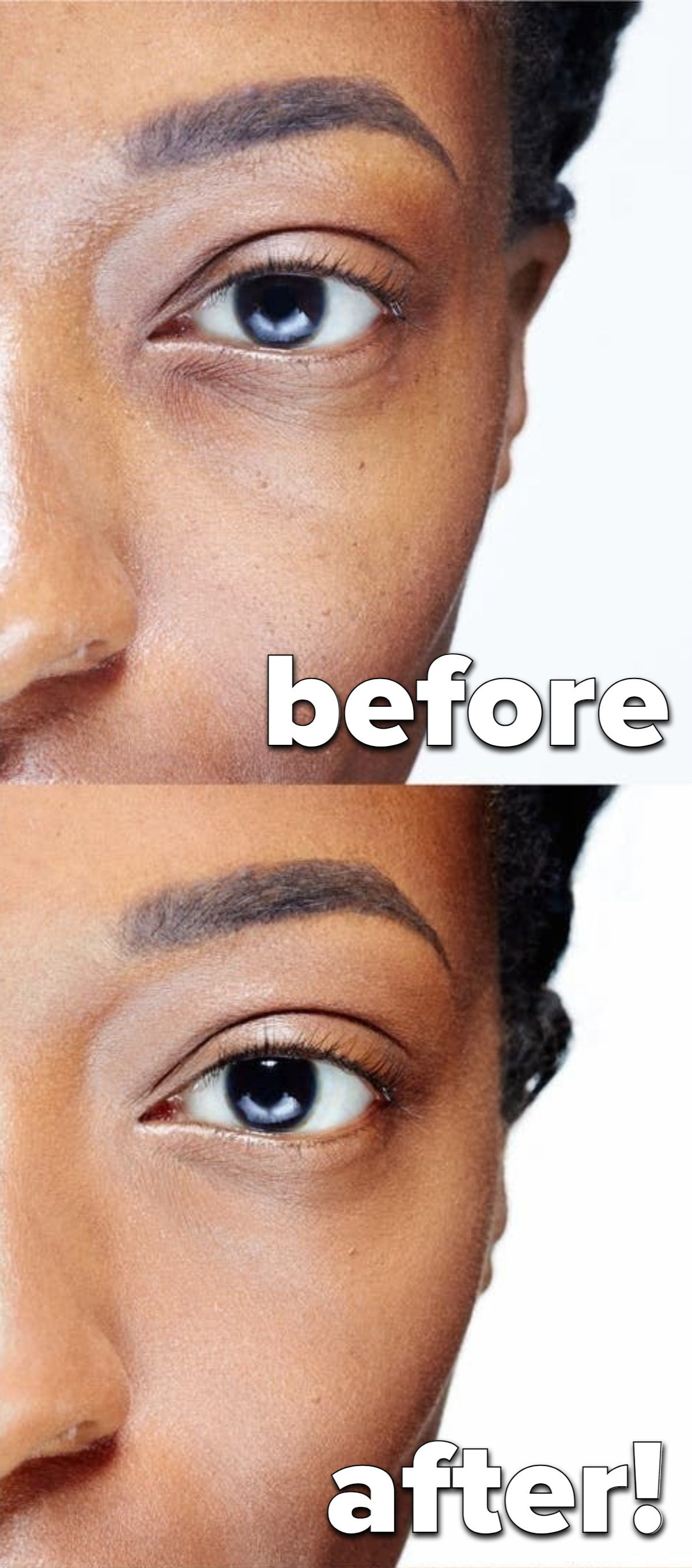 A model without the concealer on / a model with the concealer on