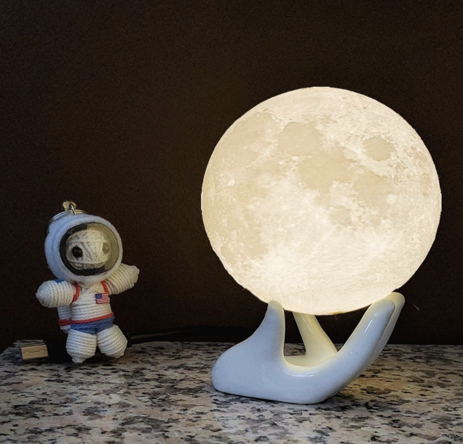 moon lamp on table