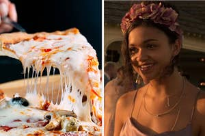 """A hand lifts a cheesy slice of pizza from the pie and Madison Bailey as Kiara """"Kie"""" in the show """"Outer Banks."""""""
