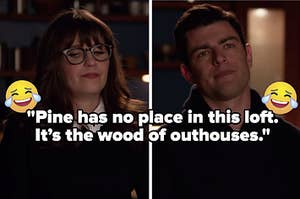 """Zooey Deschanel as Jessica Day and Max Greenfield as Schmidt in the show """"New Girl."""""""