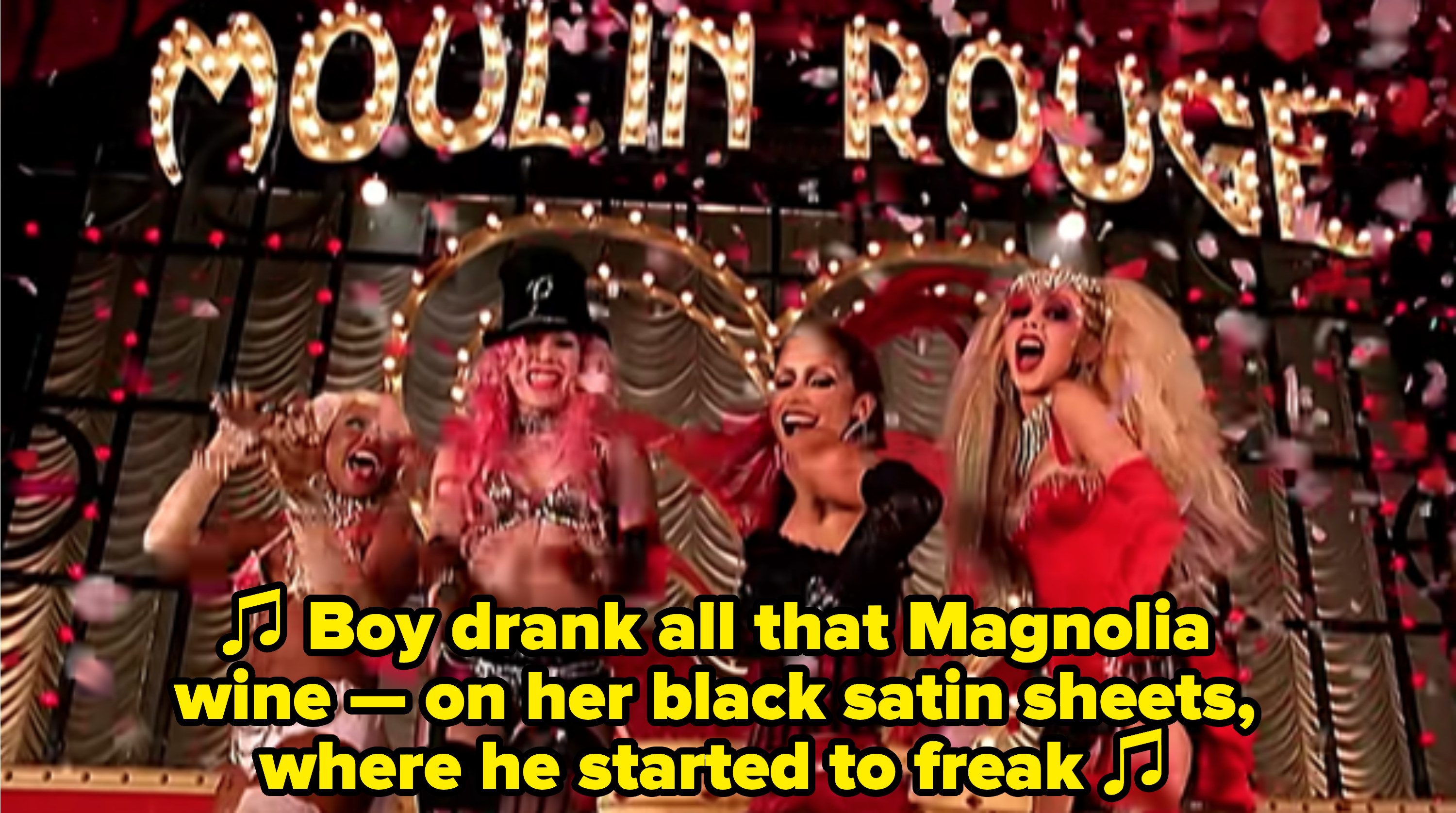 """Pink singing: """"Boy drank all that Magnolia wine — on her black satin sheets, where he started to freak"""""""