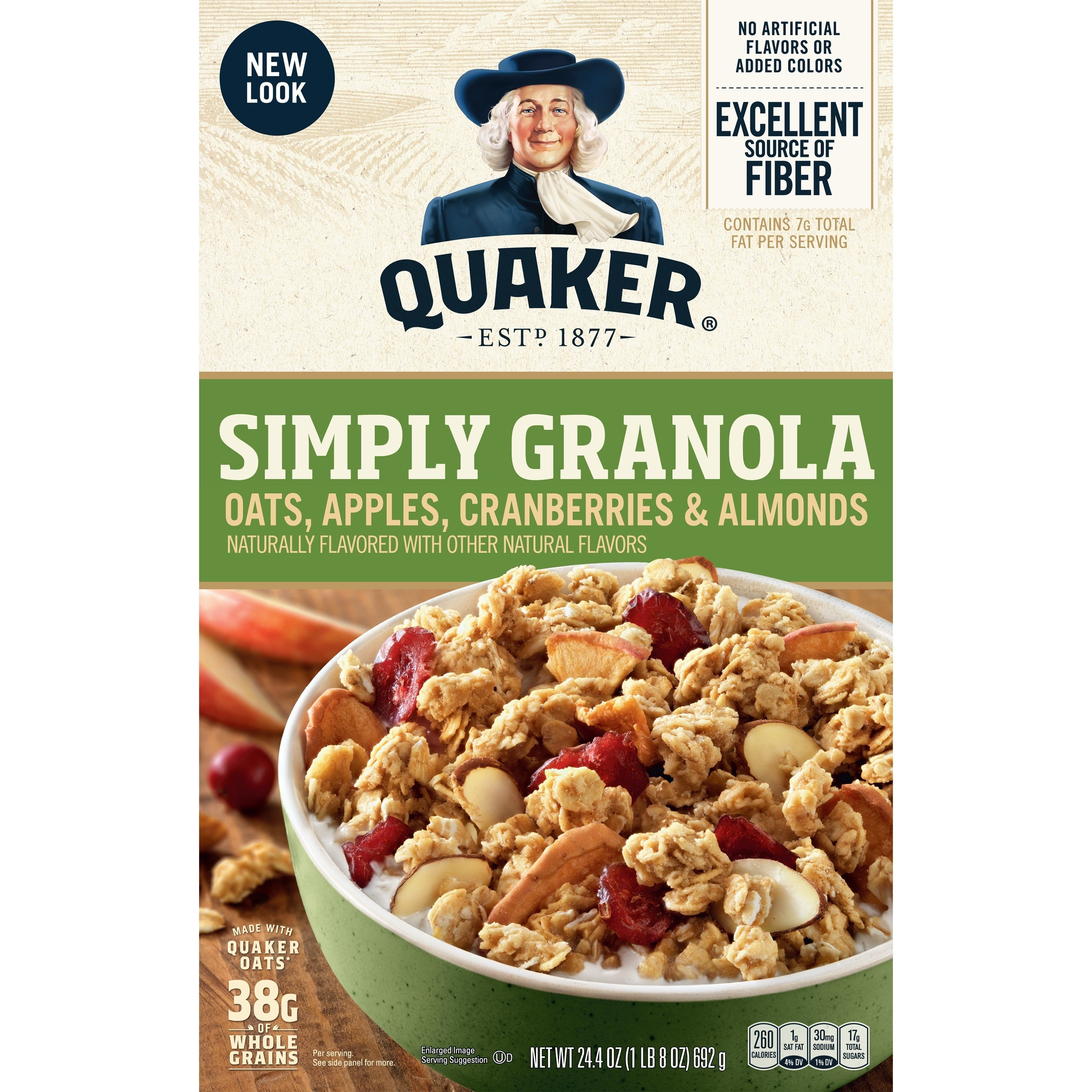the box of granola with a photo of the granola