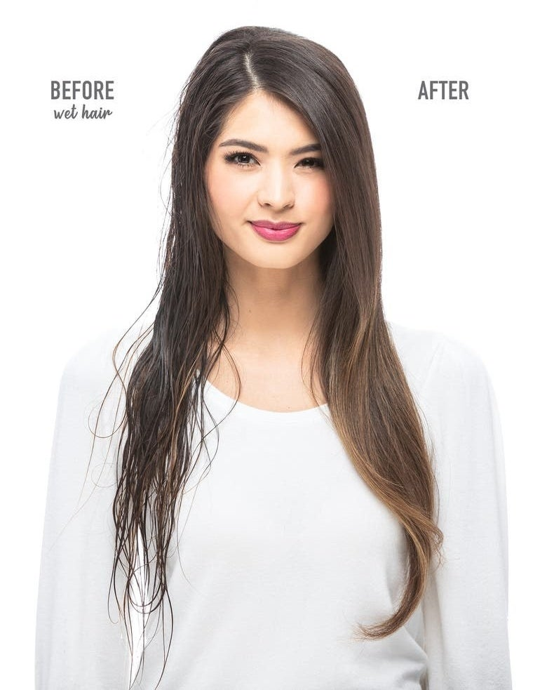 A model with wet hair / a model after using the dryer brush