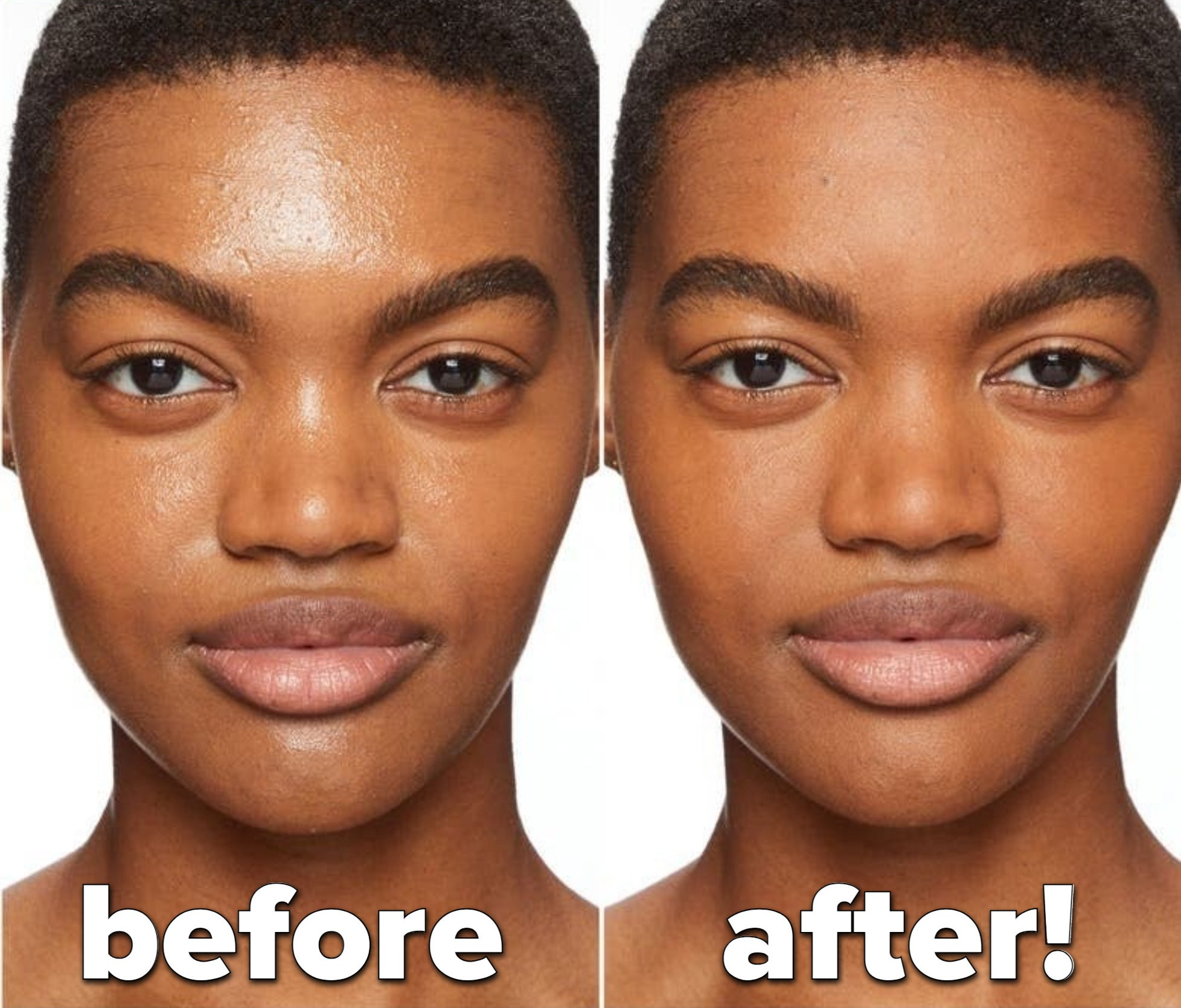 A model without the powder on / a model wears the powder in Medium  Deep