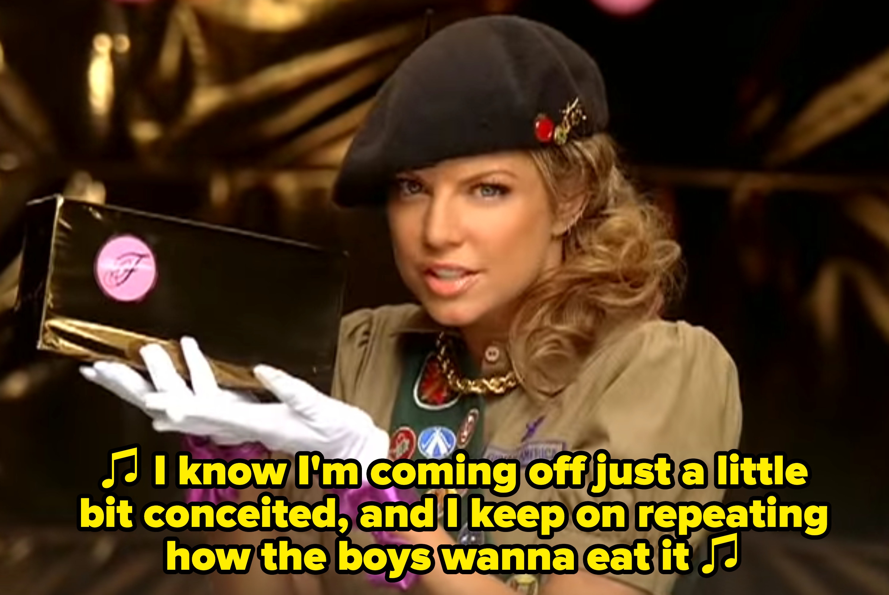 "Fergie singing: ""I know I'm coming off just a little bit conceited, and I keep on repeating how the boys wanna eat it"""