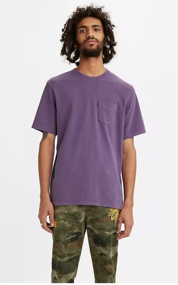 a model in a purple t-shirt with a small side pocket