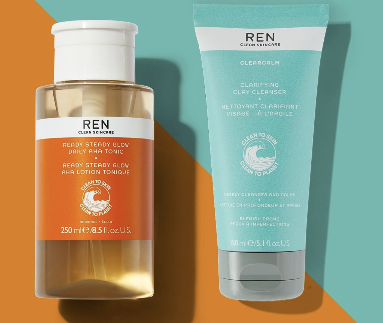 a bottle of tonic and a clarifying clay cleanser