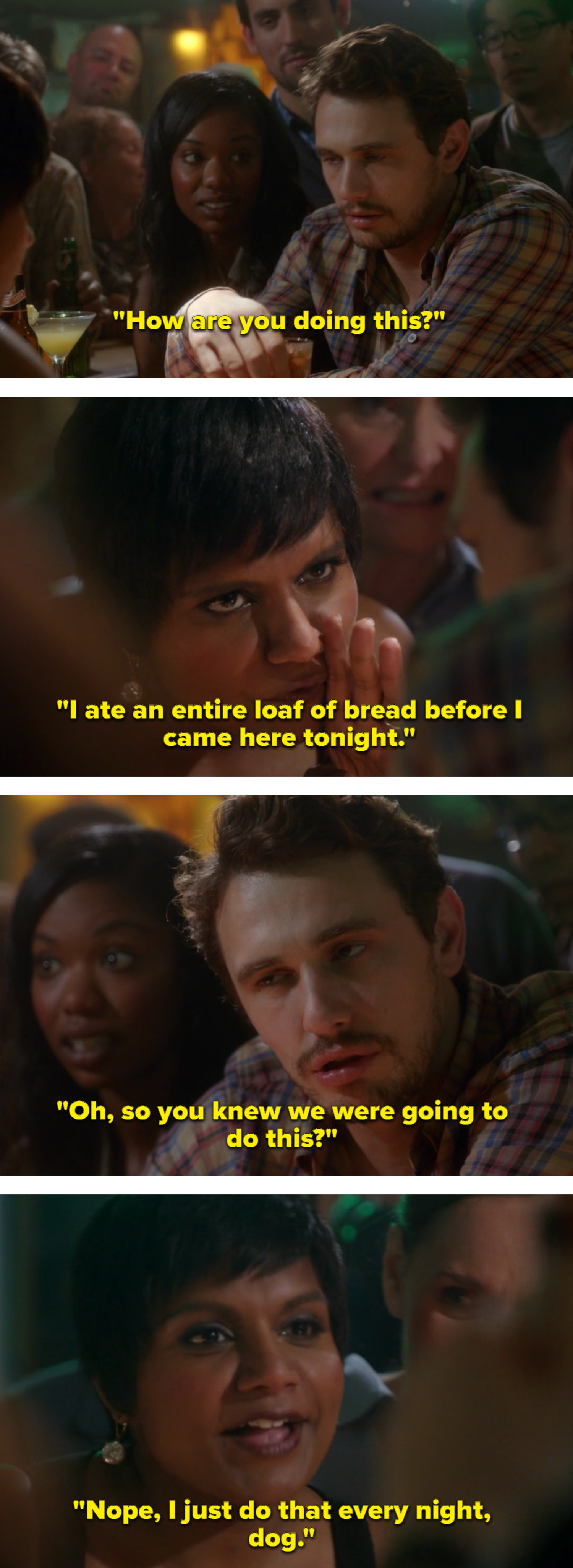 Mindy beats another doctor at a shots-off because she eats a loaf of bread every night
