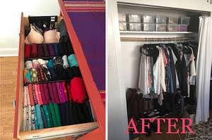 (left) Adjustable drawer organizer (right) felt hangers