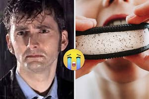 """David Tennant as the Doctor in the show """"Doctor Who"""" and a mouth takes a bite of an Oreo ice cream sandwich."""