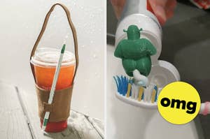 A split thumbnail of a cup holder and a ogre pooping toothpaste