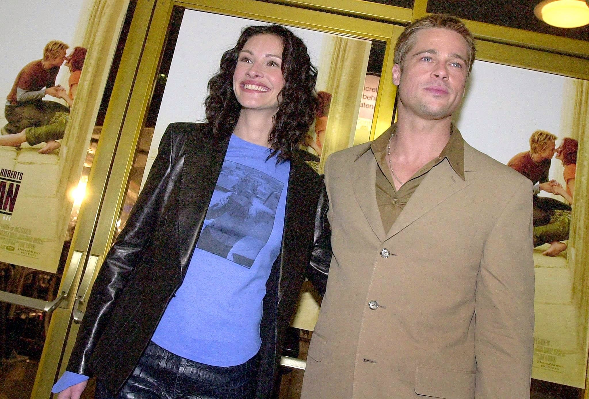 Brad Pitt and Julia Roberts in blazers on the red carpet