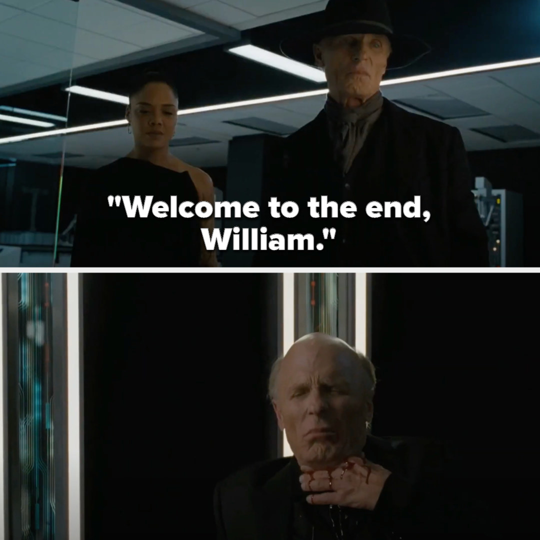 "William is killed by his lookalike, who says, ""Welcome to the end"""