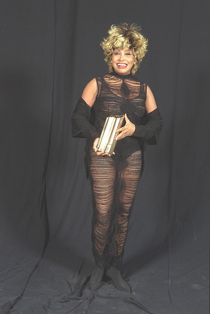 Tina Turner in a see-through sheer black dress