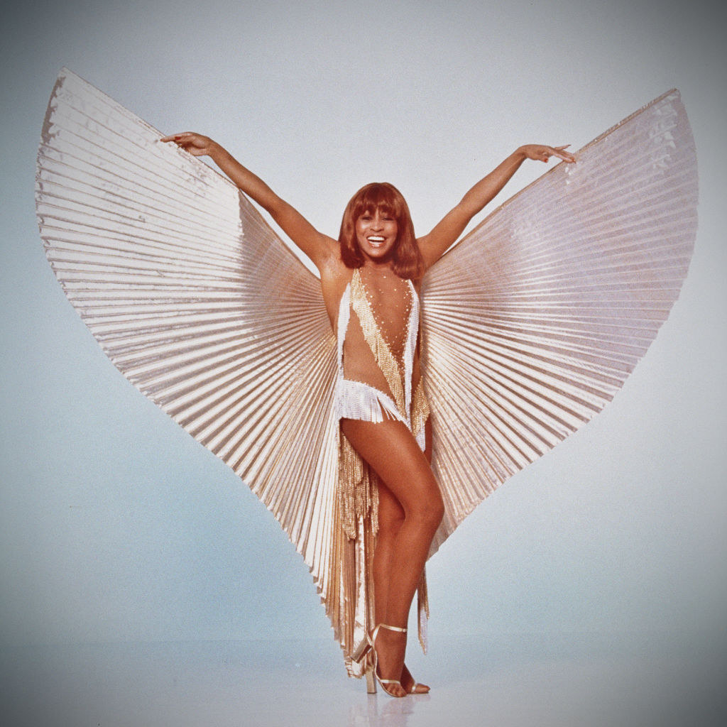 Tina Turner wears a dress with wings