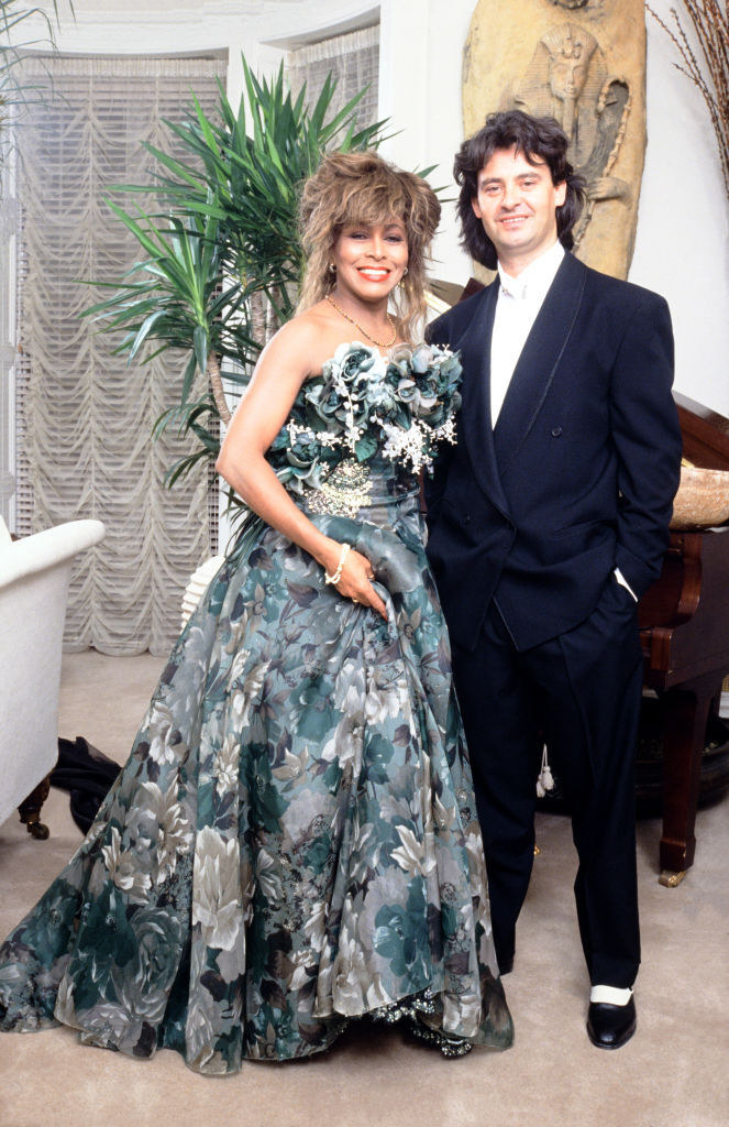 Tina Turner in a green floral gown