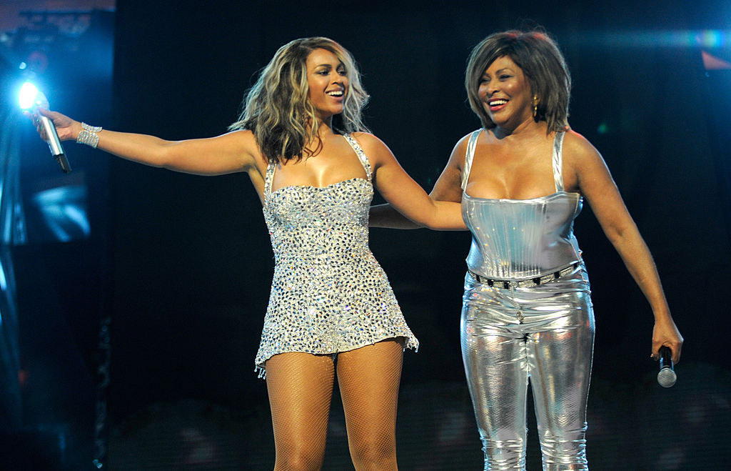 Tina Turner onstage with Beyonce