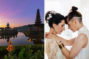 Bali and wedding couple