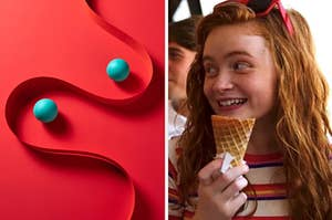 "Two balls wind down a narrow tunnel and Sadie Sink as Max Mayfield in the show ""Stranger Things."""