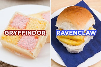 On the left, a piece of Battenberg cake labeled