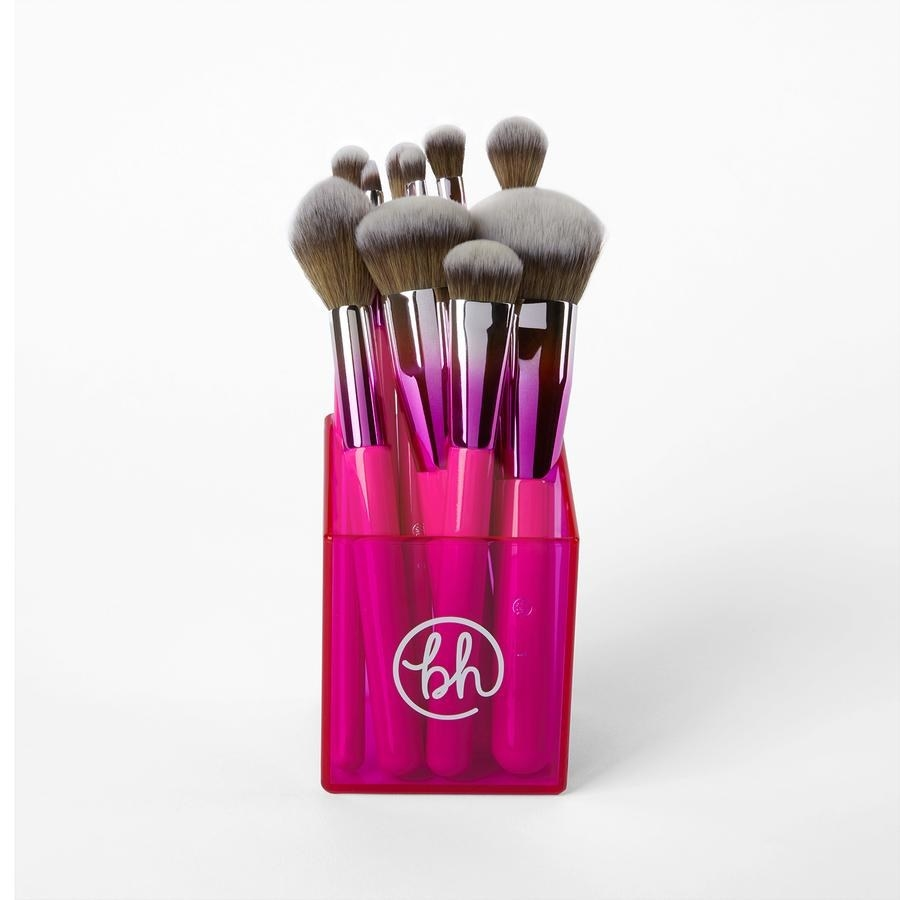 Ten pink ombre makeup brushes standing up in a pink case
