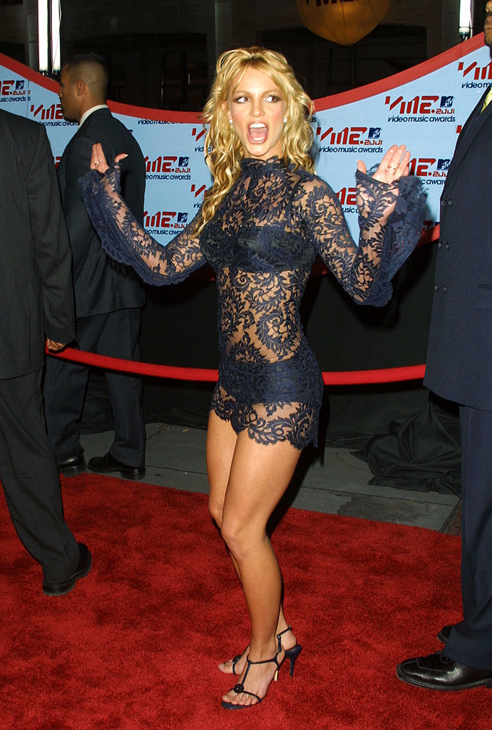 Britney Spears at VMAs in a black lace cocktail dress