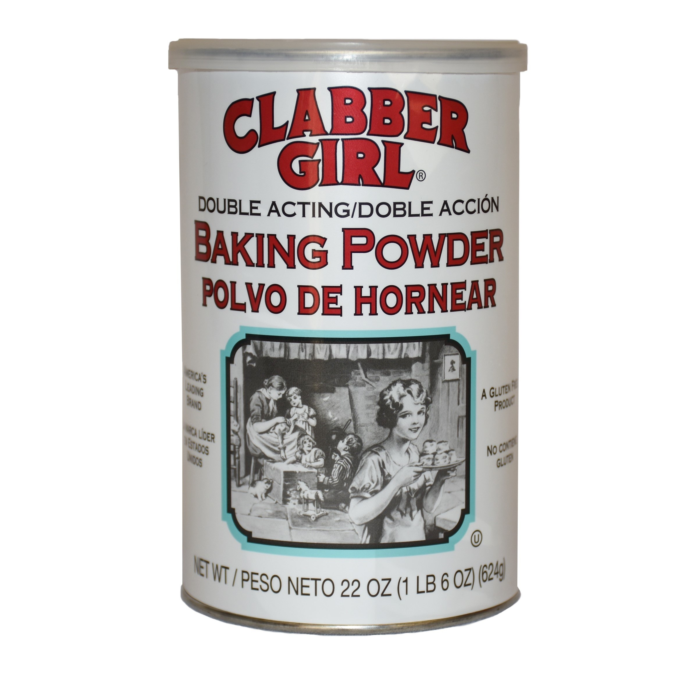 the white container of baking powder
