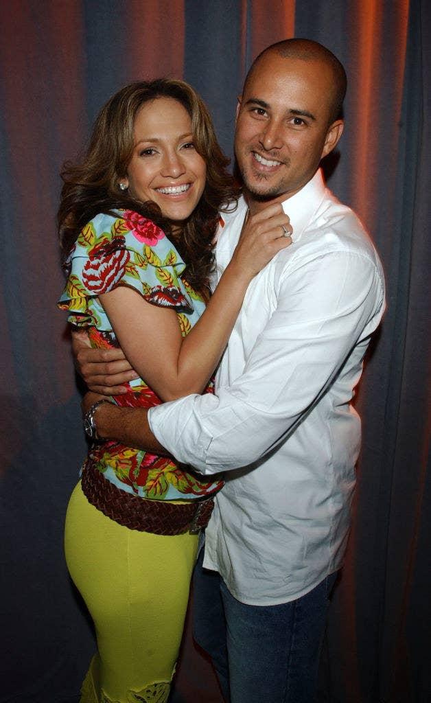 Jennifer Lopez hugging her ex husband Chris Judd