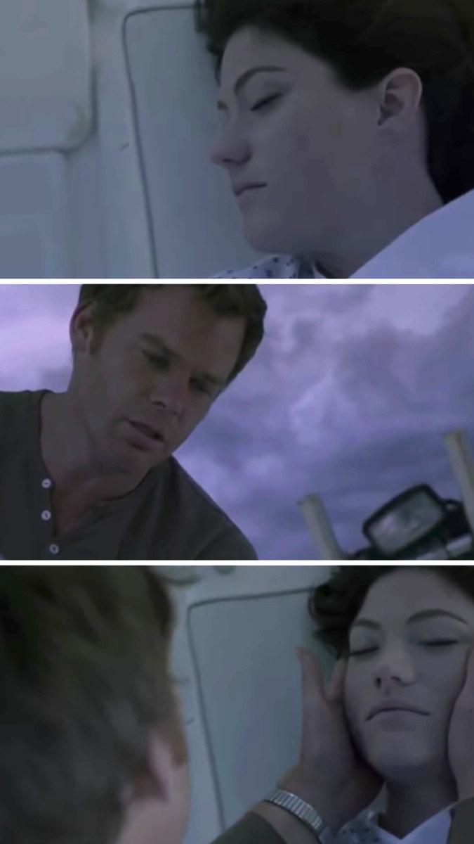 Dexter cradling Deb's dead face