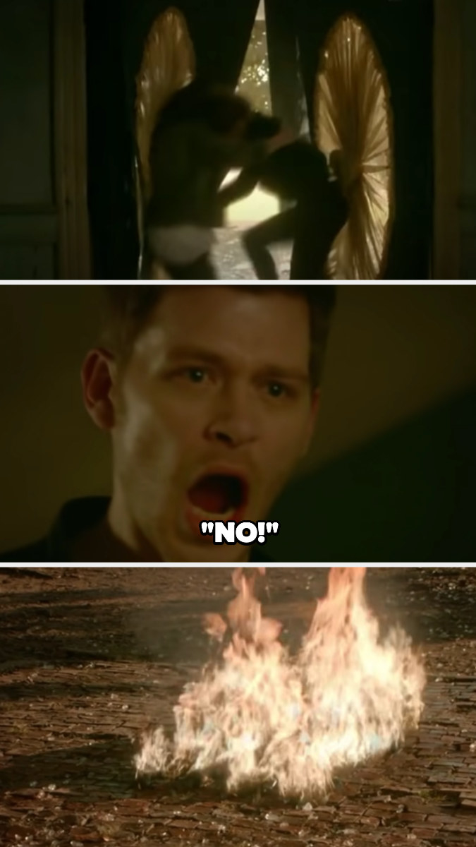 """Klaus shouts """"No!"""" as Hayley throws herself and Greta into the sunlight and they burst into flames"""