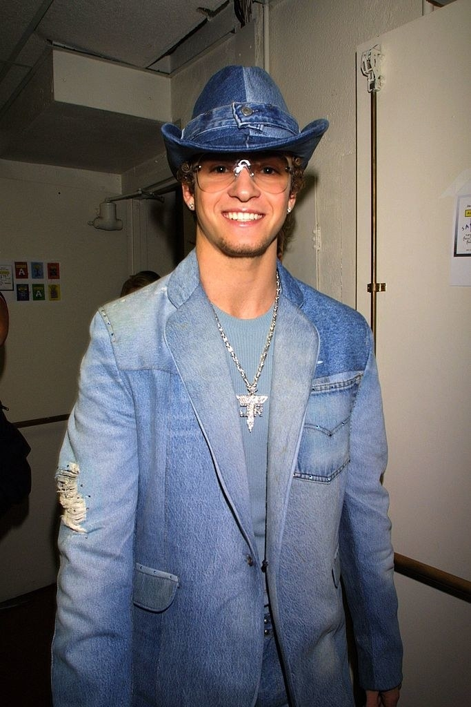 Justin Timberlake in his iconic all denim suit with matching denim cowboy hat